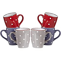 Ritzenhoff & Breker Kaffeebecher-Set Dots, 6-Teilig, 300 ml, farblich Sortiert Vajilla, cerámica, 35 x 16 x 25 cm, 6 Unidades