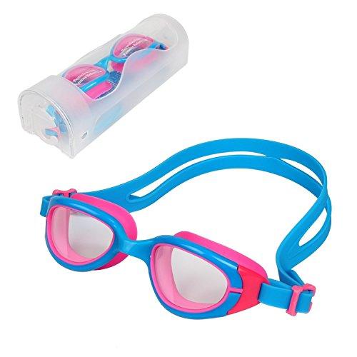 HiCool Kinder Schwimmbrille 100% UV-Schutz + Antibeschlag Wasserdicht Kinder Schwimmbrille 180 ° Weitwinkel Sicht- Farbe Auswahl (Blau/Rosa)