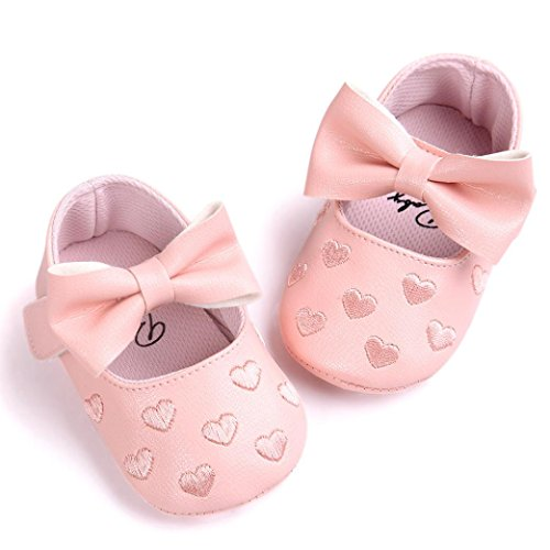 Chaussures Bébé,Fulltime® Baby Girl bowknot Chaussures en cuir Sneaker anti-dérapant souple Sole Toddler Rose1