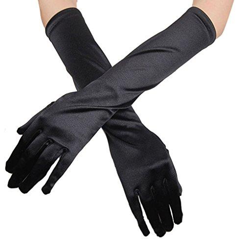 Damen Handschuhe Lange glänzend Satinhandschuhe Abendhandschuhe Brauthandschuhe ca.38 cm Abendkleid Party Hochzeit Karneval Classic Opera Fest Fastelabend