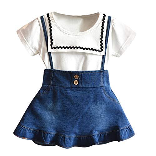 ind Baby Mädchen Kleid Spitze Rüschen Kleider Ärmellos Taste Hohl Prinzessin Sommerkleid Urlaub Outfit Kleidung ()