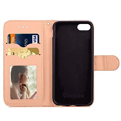"""MOONCASE Coque iPhone 6 Etui Housse AntiChoc PU Cuir Protecteu pour iPhone 6/iPhone 6s (4.7"""") Coque Fonction Support Flip et Les Fentes de Carte de Crédit Case Bleu Or"""
