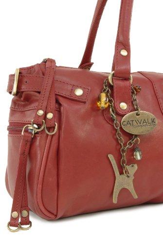 """Lederhandtasche """"Chancery"""" von Catwalk Collection - Größe: B: 34,25 H: 16 T: 9 cm Rot"""
