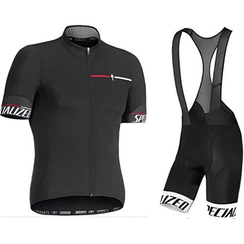 LXIANGP Herren Radtrikot Set Damen MTB Fahrrad Fahrradbekleidung Mountainbike Bekleidung Sommer Atmungsaktiv Bequem, Schnell Trocknend (Color : Black, Size : L)