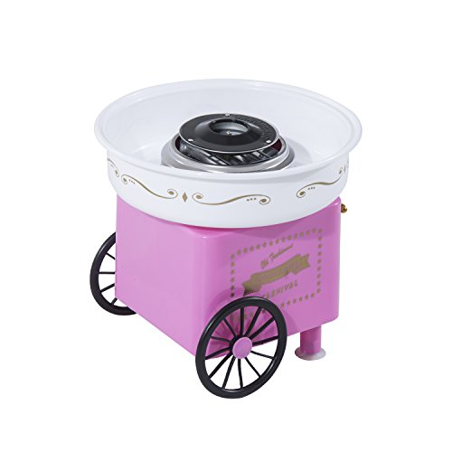 Máquina de algodón de azúcar profesional con mueble, 30 x 30 x 28 cm, color rosa