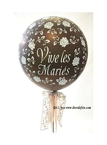 Belbal 1Ballon Fête 90cm Vive les Mariés Schokolade Chocolat Nacré -