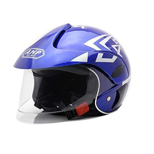 NNJJGS Casco per Bambini Casco Mezzo per Bambini Casco per Moto per Skateboard Bike BMX Scooter,Blue(55cm)
