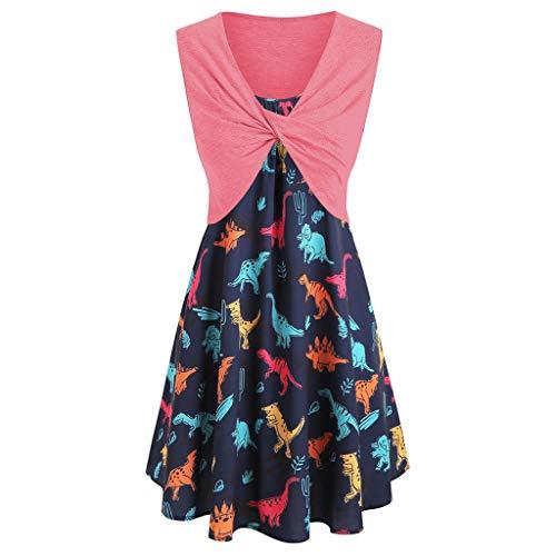 Bibao Kleid für Damen, kurzärmliges Kleid mit vorderem Kreuz-Top, hübsches Dinosaurier-Print, Strandkleid Minikleid Anzüge S wassermelone -