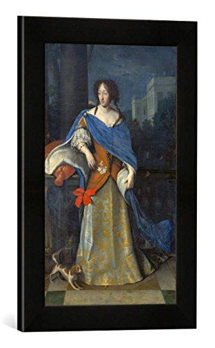 Gerahmtes Bild von Deutsch Kurfürstin Adelheid Henriette mit einem kontinentalen Zwergspaniel, Kunstdruck im hochwertigen handgefertigten Bilder-Rahmen, 30x40 cm, Schwarz matt