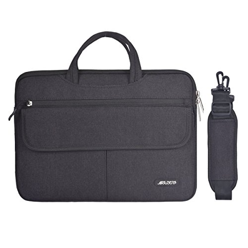 MOSISO Polyester Flapover Kompartiment Stil Laptop Schulter Aktenkoffer Messenger Bag Fall für 13-13,3 Zoll MacBook Pro, MacBook Air, Notebook, Schwarz