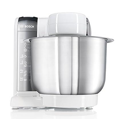 Bosch-MUM48CR1-Kchenmaschine-MUM4-600-Watt-39-Liter-Edelstahl-Rhrschssel-Durchlaufschnitzler-Reibscheibe-grob-Mixer-Aufsatz-Rezept-DVD-wei