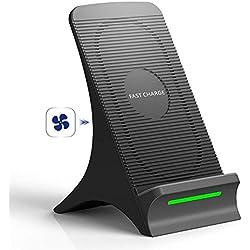 Chargeur sans fil Rapide, NOVETE Chargeur à Induction avec Ventilateur Intégré pour Samsung Galaxy S8/S8 Plus/Note 8/S7/S7 Edge/S6 Edge Plus/Note 5, Charge standard pour iPhone 8/8 Plus/iPhone X