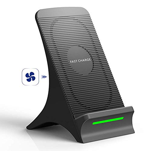 Fast Wireless Charger, NOVETE Qi Induktive Ladestation mit Lüfter 10W für Samsung Galaxy Note 9/S9/S9 Plus/S8/S8 Plus/Note 8/S7/S7 Edge/S6 Edge/Note 5, 7.5W für iPhone 8/8 Plus/iPhone X/XS/XS MAX/XR