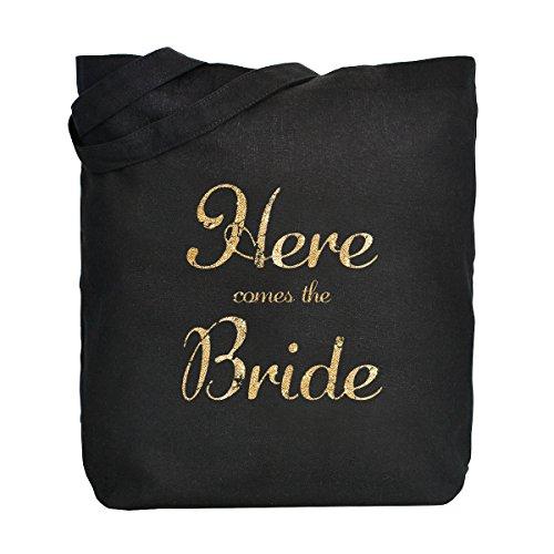 ElegantPark Bride to Be Handmade Einkauftstasche Hochzeit Braute Schwarz Canvas Schultertasche Tasche 100% Baumwollen mit Gold Skript 1 Stück Here Comes the Bride