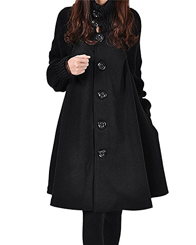 BIUBIU Damen Lange Mantel Lange Cardigan Pulli Strickjacke Trenchcoat Schwarz DE 38