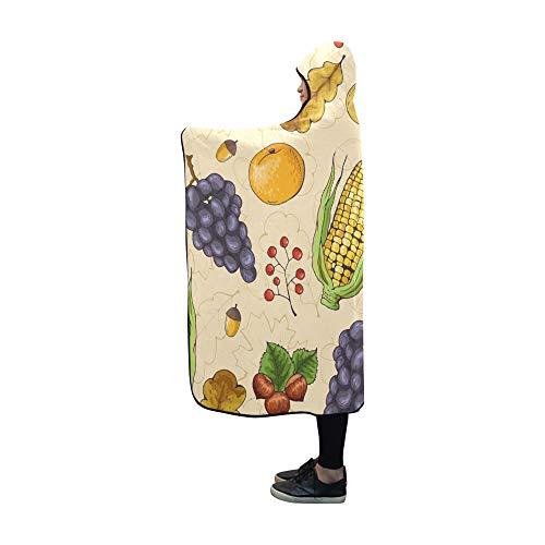 JOCHUAN Mit Kapuze Decke Herbst Obst Gemüse Apple Orange Decke 60 x 50 Zoll Comfotable Mit Kapuze werfen Wrap