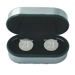 21st Birthday Age Cufflinks - Rhodium plated silver coloured oval Cufflinks engraved by OFL with the number 21 supplied in a chrome presentation case. Ideal 21st Birthday gift for men.