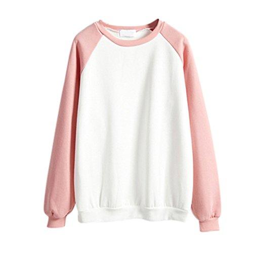 ESHOO Femmes Casual Sweat à capuche Manche longue Hoodie Sweatshirt Hooded Tops Blouse Rose