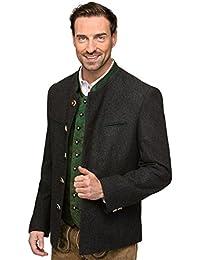 Janker Loden Stachus - ein besonderer Trachtenjanker für modewusste Männer, klassischer Lodenjanker aus bester Schurwolle im zeitlos schönen Design der Trachtenmode Anthrazit