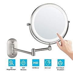 Idea Regalo - alvorog 8'' Specchio per Trucco con Luce a LED, Specchio Cosmetico Ingranditore, Specchio da Parete per Bagno Bilaterali 5X+360° Girevole e Rotondo, allungabile e Nichel Spazzolato Smerigliato