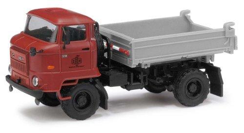 Busch Voitures - BUV95500 - Modélisme - Camion Rouge L60 3SK ND - Remorque à Bors Bas Gris