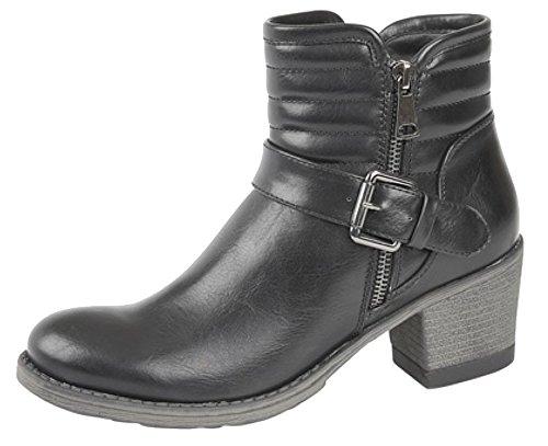 Donna Interna con zip e fibbia tacco caviglia stivali Black