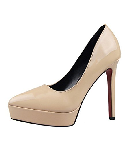 Minetom Donna Scarpe Elegante Scarpe Con Plateau Tacco A Spillo Scivolare Su Vernice Scarpe Col Tacco Alto Calzature Albicocca EU 37
