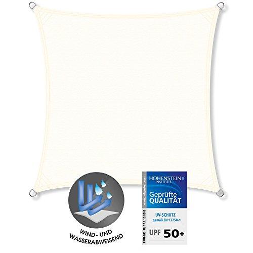 CelinaSun Sonnensegel Quadrat 5 x 5 m Creme weiß UPF 50+ Sonnenschutz PES Schattenspender geprüft