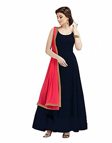 FashionFolk Women's Black Taffeta Silk Gown(Free Size)
