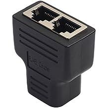 Amazingdeal365 RJ45 Adaptador de divisor 1 a 2 Puerto hembra doble CAT5 / CAT 6 LAN Ethernet Sockt
