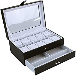 Fantastic New Black Bonded Leather 10 Watch Box Organiser with Drawer by Mele & Co The Perfect Gift