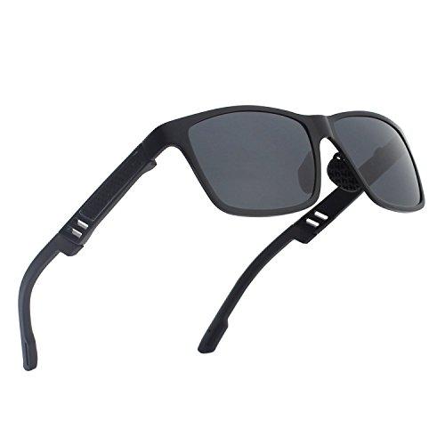 CGID Al-Mg Legierung Wayfarer Stil Polarisierte Sonnenbrillen UV400, Sonnenbrillen für Männer GD60 (Spy Sonnenbrille Rot)