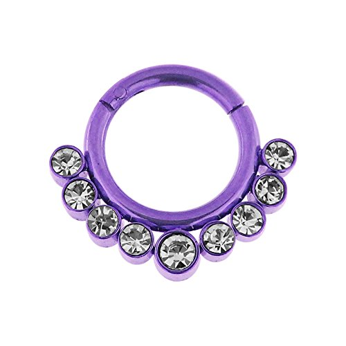 16 Gauge - 7 MM Durchmesser lila eloxiert Chirurgenstahl 9 Kristallsteinen gepflastert klappbar Segment Septum Nase Piercing Ring