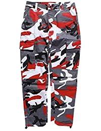 Mxssi Color Camo BDU Pantalones de Camuflaje Cargo Hombres Mujer Casual Streetwear Bolsillos Jogger Naranja Tactical Pantalones de Chándal Hip Hop Pantalón