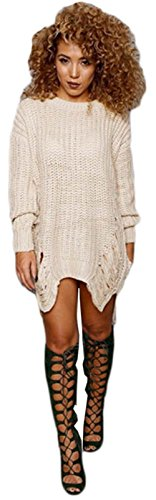 Trous Femmes ras du cou à manches longues irrégulière Tassel long pull en tricot Robe abricot