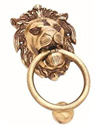 Kodia Real Lion 5 Antique Solid Brass Heavy Door Knocker