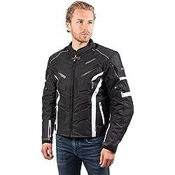 RIDER-TEC - Blouson Moto Urban Black&White - Ultra-Résistant - Protections fournies - Homologué CE - Taille-S