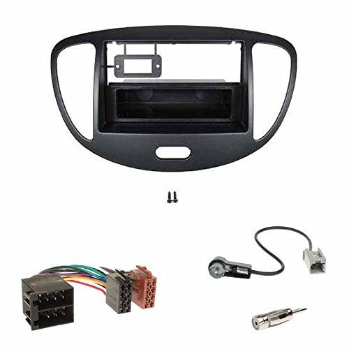 Einbauset: Autoradio Doppel-DIN 2-DIN 2 DIN Radioblende Radio Blende Halterung + Fach schwarz + ISO Radioanschlusskabel Adapter + Antennenadapter für Hyundai i10 ab Baujahr 2008-2013