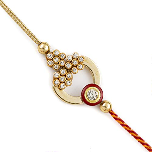 Aapno Rajasthan Golden & Red AD Studded Beautiful Rakhi