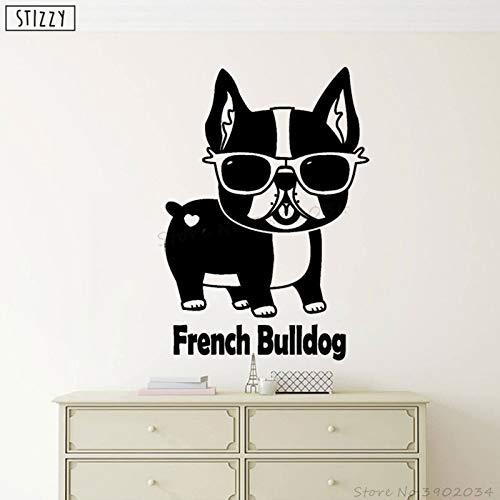 yaoxingfu Wandtattoo Lustiges Tier Petshop Poster Französische Bulldogge Wandtattoo Abnehmbare Fensterdekoration Sonnenbrille Art Decor gelb 42x60cm