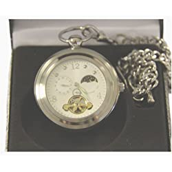 Silver Open Face Pocket Watch with Sun and Moon Phase