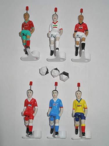 Tipp Kick 6 Fußballspieler Figuren Kicker WM 2018 Kaufland Edition Island Ägypten Kolumbien Serbien Marokko Iran und 3 Bälle