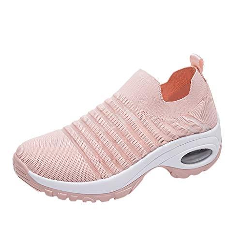 Sommer Sneaker Damen,Mode Segeltuchschuhe fliegen Weben Socken Schuhe Casual Slip On Mesh Atmungsaktive Sport Laufschuhe Turnschuhe mit Dämpfung Luftkissen