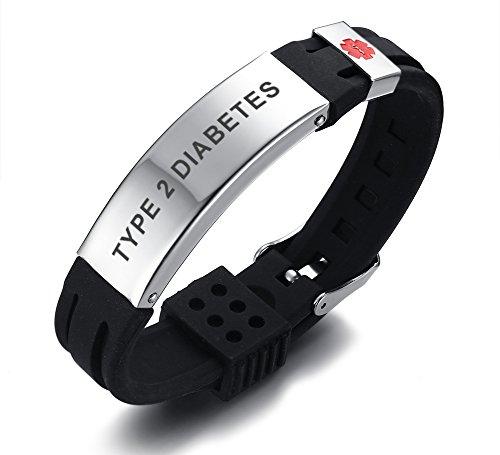PJ JEWELLERY Type 2 Diabetes Silikon Komfort Sport Armband Notfall Medical Alert ID Armband für Männer Frauen Kid Boy (Medical Alert Armband Frauen)