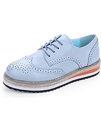 Zapatos Planos De Mujer Zapatos De Plataforma Mujer OtoñO Punta Redonda Charol Oxford Cordones Derby Brogue