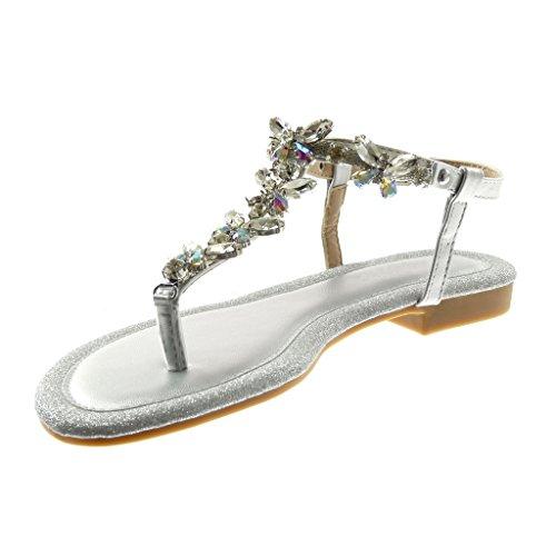 Angkorly Scarpe Moda Sandali Infradito con Cinturino Alla Caviglia Donna Gioielli Strass Paillette Tacco a Blocco 1.5 cm Argento