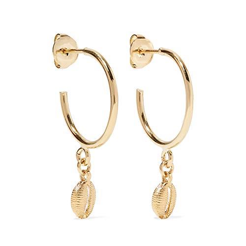 Ohrringe Gold mit Muschel Anhänger. Creolen Gold aus 925 Sterling Silber und 14K Gold Plattierung. Handgearbeitete Ohrringe Damen, designed in Deutschland. (14k Gold Vergoldet Ohrringe)