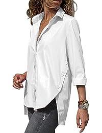 ecebf300ad59 ZC GF Damen Bluse Elegant Langarm Oberteile Einfarbig V-Ausschnitt  Hemdbluse Asymmetrisch T-Shirt Top