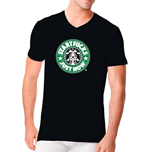 Fun Sprüche Männer V-Neck Shirt - StartFucks - Just Now by Im-Shirt Schwarz