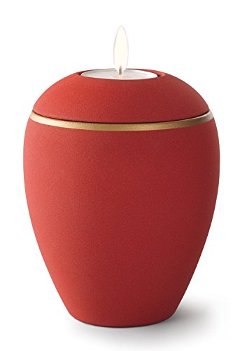 Keramik Kerzenhalter Verbrennung Asche Urne, Zinnoberrot rot